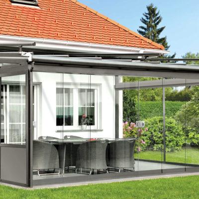 Terrassendach mit Schiebeelementen
